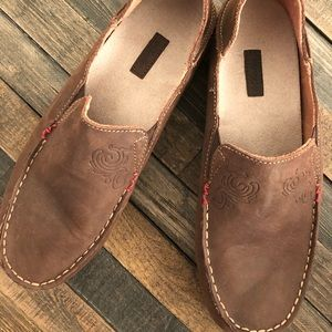 New OluKai Nohea Nubuck Dark Java/Tan Loafer Shoes
